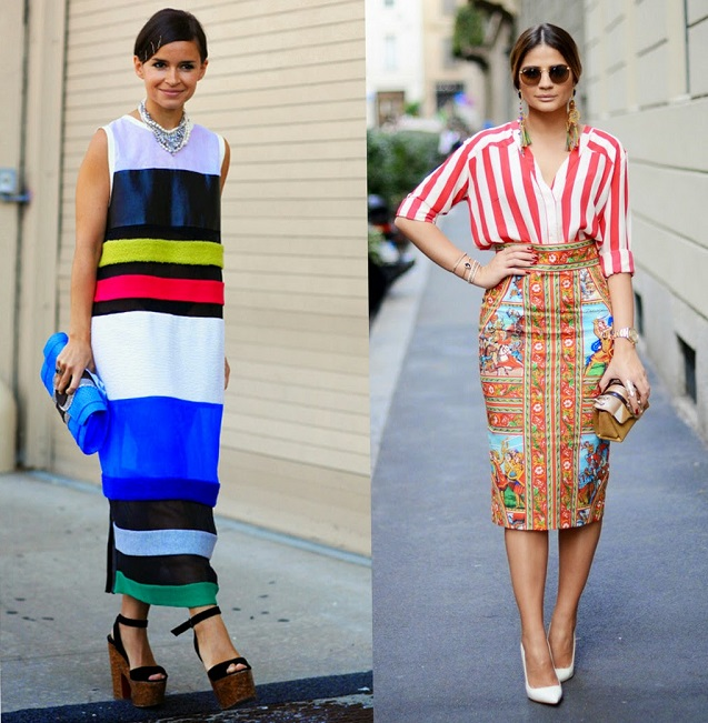 Looks street style listras coloridas